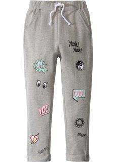 Непринужденные трикотажные брюки с принтом в стиле комиксов (светло-серый меланж) Bonprix
