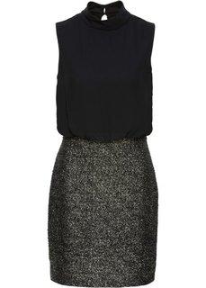 Трикотажное платье с блеском (черный/золотистый) Bonprix