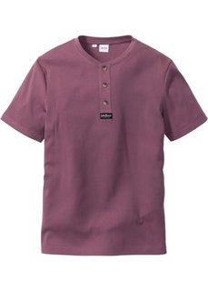 Однотонная футболка стандартного прямого кроя regular fit (ягодный) Bonprix