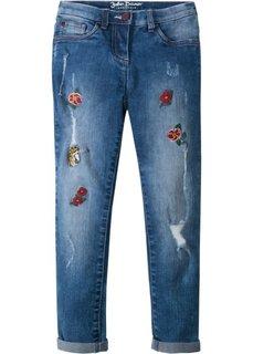 Джинсы-дудочки с вышивкой (синий «потертый») Bonprix
