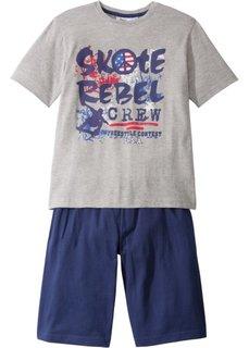 Пижама с шортами (2 изд.) (светло-серый меланж/ночная синь) Bonprix
