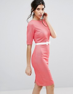 Платье-футляр с короткими рукавами и бантиком Paperdolls - Красный