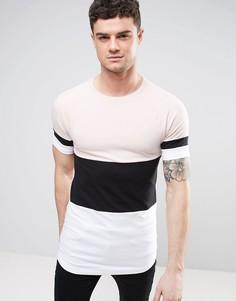 Длинная обтягивающая футболка колор блок с рукавами реглан ASOS - Розовый