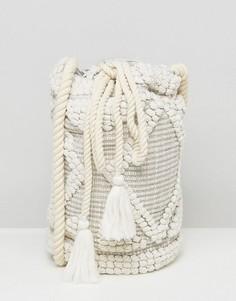 Сумка на плечо с затягивающимся шнурком South Beach - Кремовый