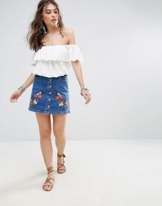 Джинсовая юбка с цветочным принтом Parisian A Line - Синий