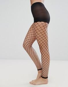 Колготки без носка в крупную сетку ASOS - Черный