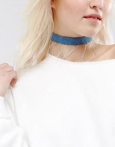 Джинсовое ожерелье-чокер с необработанным краем ASOS - Синий