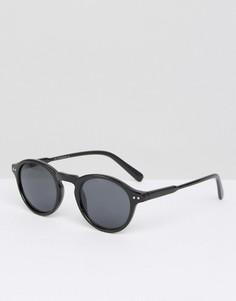 Черепаховые круглые солнцезащитные очки 7X - Черный