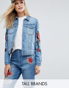 Узкая джинсовая куртка с цветочной вышивкой Kubban Tall - Синий
