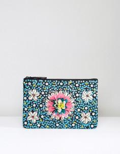 Клатч с бисером, ракушками и цветочной отделкой Glamorous - Мульти