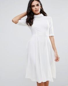 Платье-рубашка с высоким воротом и рукавами 3/4 Closet London - Белый