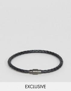 Черный кожаный плетеный браслет Seven London эксклюзивно для ASOS - Черный