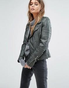 Кожаная байкерская куртка с эполетами Goosecraft - Зеленый