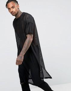 Сетчатая oversize-футболка удлиненного кроя с короткими рукавами ASOS - Черный