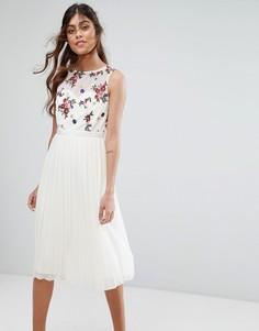 Платье миди с вышивкой на лифе Little Mistress - Кремовый