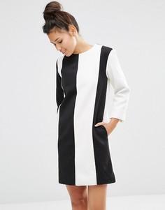 Шерстяное платье в полоску The WhitePepper - Черный