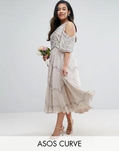 Платье миди с открытыми плечами и цветочной отделкой ASOS CURVE WEDDING - Серый