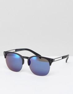 Солнцезащитные очки в стиле ретро с синими стеклами AJ Morgan - Черный