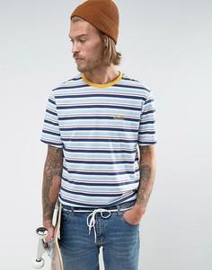 Свободная полосатая футболка ретро с вышивкой на груди ASOS - Мульти