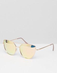 Солнцезащитные очки кошачий глаз цвета розового золота Skinnydip - Золотой