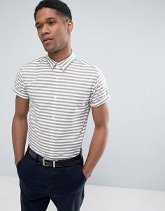 Облегающая рубашка в полоску с короткими рукавами Jack & Jones - Светло-серый