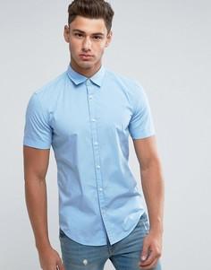 Поплиновая рубашка с короткими рукавами Esprit - Синий