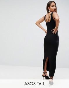 Платье макси в рубчик ASOS TALL - Черный