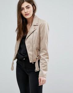 Байкерская куртка из искусственной замши New Look - Бежевый
