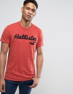 Узкая красная футболка с логотипом Hollister - Красный