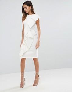 Платье миди с асимметричной двойной оборкой спереди ASOS - Белый