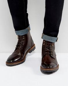 Коричневые кожаные ботинки на шнуровке Base London Siege - Коричневый