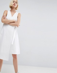 Хлопковое платье миди с запахом и D-образным кольцом ASOS PREMIUM - Белый