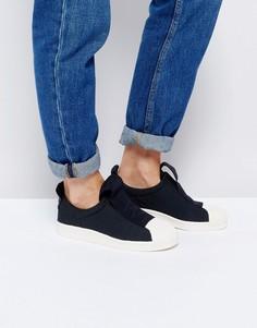 Черные кроссовки-слипоны с контрастным ремешком adidas Originals Superstar - Черный