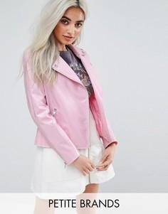 Виниловая байкерская куртка Boohoo Petite - Розовый