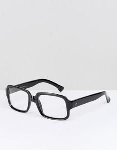 Черные квадратные очки с прозрачными стеклами Reclaimed Vintage - Черный