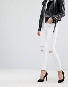 Супероблегающие джинсы с завышенной талией и прорехами J Brand Maria - Белый