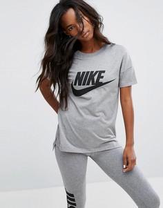 Серая футболка с крупным логотипом Nike Signal - Серый