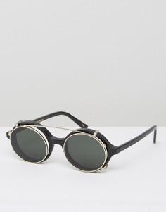 Круглые солнцезащитные очки в черной оправе Han Kjobenhavn - Черный