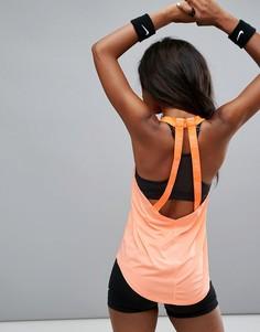 Коралловая майка Nike Training Breathe Elastika - Оранжевый