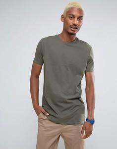 Длинная футболка цвета хаки ASOS - Зеленый