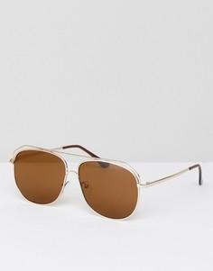 Солнцезащитные очки авиаторы матового золотистого цвета ASOS - Золотой