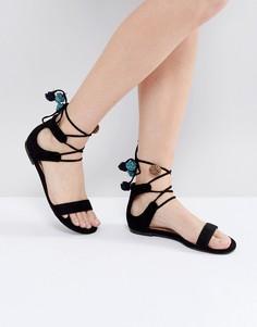 Сандалии со шнуровкой и помпонами Call It Spring Mckeague - Черный