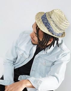 Соломенная шляпа с платочным принтом на ленте ASOS - Бежевый