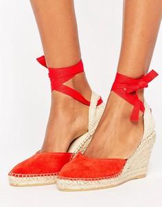 Замшевые туфли-эспадрильи на танкетке с завязкой Park Lane - Красный