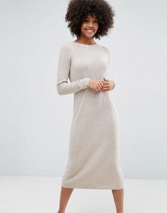 Вязаное платье из супермягкой пряжи ASOS ECO - Бежевый