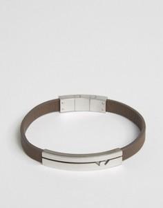 Коричневый кожаный браслет с логотипом Emporio Armani - Черный