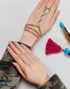 Металлический фестивальный браслет в восточном стиле с цветами ASOS - Золотой