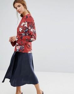 Платье с длинными рукавами и цветочным принтом Gestuz - Красный