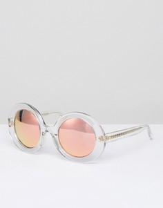 Круглые солнцезащитные очки в прозрачной оправе с персиковыми стеклами Matthew Williamson - Прозрачный