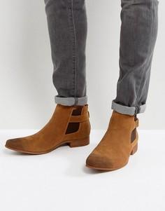 Светло-коричневые ботинки челси из искусственной замши с ремешком ASOS - Рыжий